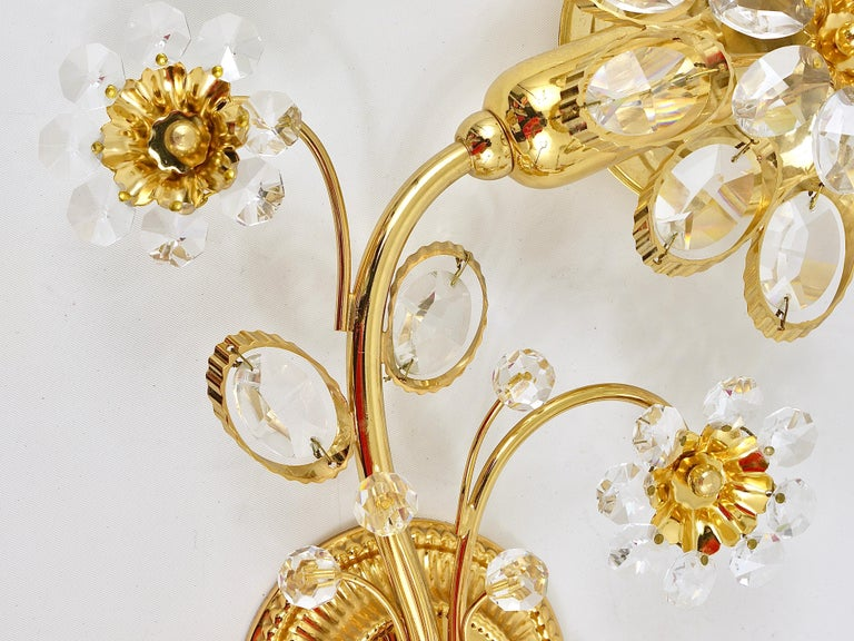 Pair of Palwa Gilt Brass Flower Wall Lights with Crystals, Germany, 1970s For Sale 2
