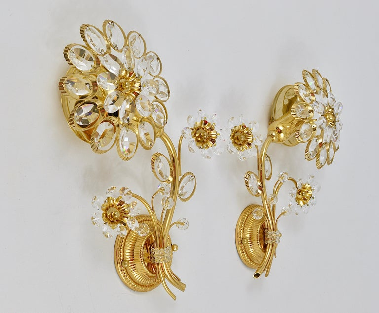Pair of Palwa Gilt Brass Flower Wall Lights with Crystals, Germany, 1970s For Sale 3
