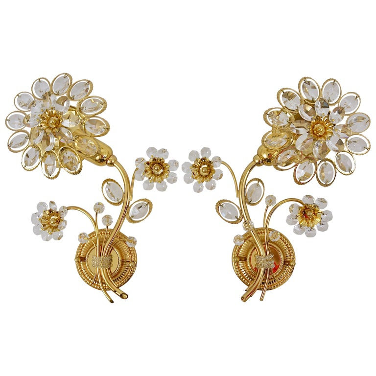 Pair of Palwa Gilt Brass Flower Wall Lights with Crystals, Germany, 1970s For Sale