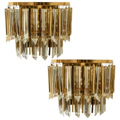 Pair of Palwa Murano Glass and Brass Sconces, Austria