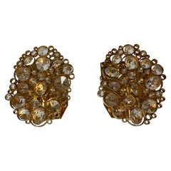 Pair of Palwa Sconces Swarovski Crystals on a Gold Plated Frame, Vienna 1960