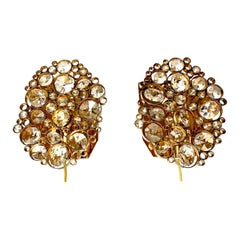 Pair of Palwa Sconces Swarovski Crystals on a Gold-Plated Frame, Vienna, 1960