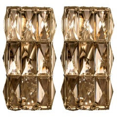 Pair of Palwa Wall Light Fixtures, Chrome-Plated Crystal Glass, 1970