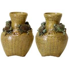 "Pair of ""Paniers de Crabes"" Majolica Vases, France, circa 1900"