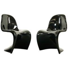 Pair of Panton S-Chairs in Black by Verner Panton for Herman Miller, 1975
