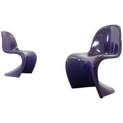 Pair of Panton S-Chairs in Purple by Verner Panton for Herman Miller, 1971-1973