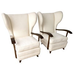 Pair of Paola Buffa Mahogany Frame and White Wool Boucle Arm / Lounge Chairs