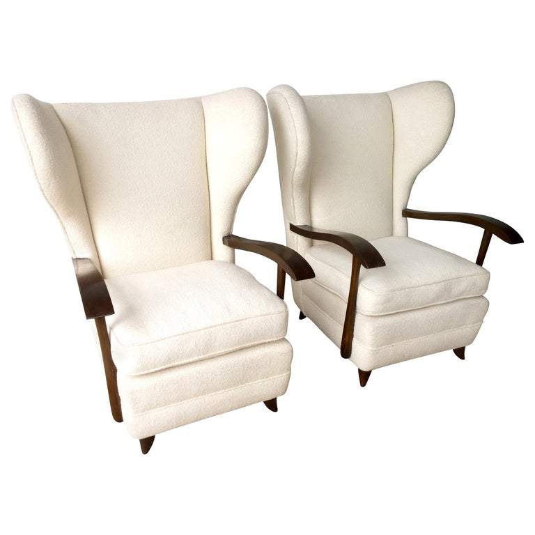 Pair of Paola Buffa Mahogany Frame and White Wool Boucle Arm or Lounge Chairs For Sale