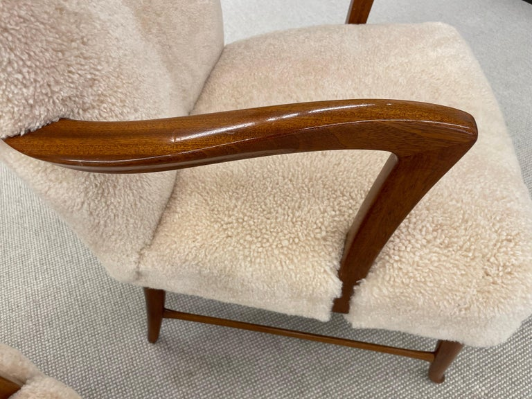Pair of Paola Buffa Style Italian Lounge Chairs in Neutral Sheepskin For Sale 6
