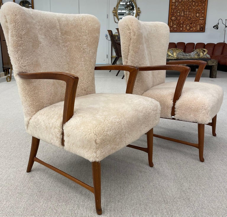 Pair of Paola Buffa Style Italian Lounge Chairs in Neutral Sheepskin For Sale 7
