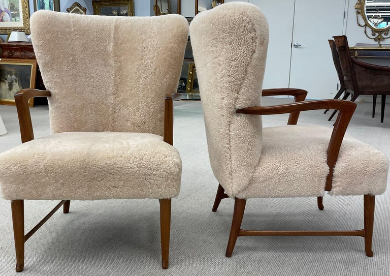 Pair of Paola Buffa Style Italian Lounge Chairs in Neutral Sheepskin For Sale 10