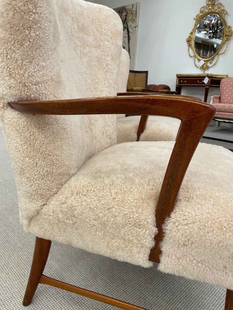 Wood Pair of Paola Buffa Style Italian Lounge Chairs in Neutral Sheepskin For Sale