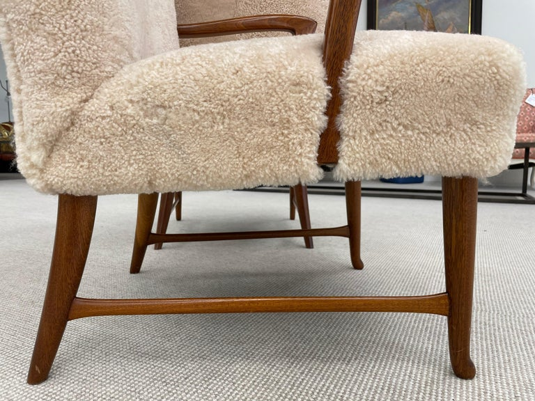Pair of Paola Buffa Style Italian Lounge Chairs in Neutral Sheepskin For Sale 1