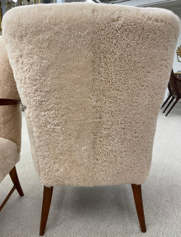 Pair of Paola Buffa Style Italian Lounge Chairs in Neutral Sheepskin For Sale 2