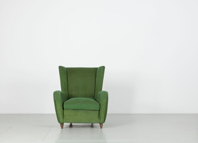 Set of two green Paolo Buffa armchairs, original upholstery, Italy, 1950s.