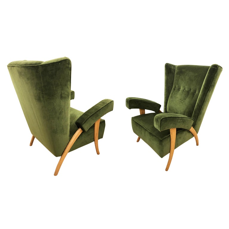Pair of Paolo Buffa Armchairs, Italy, 1950s For Sale