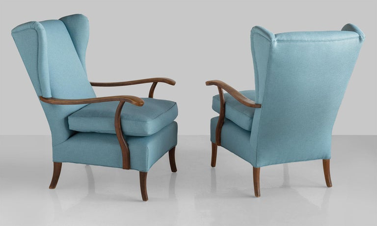Modern Pair of Paolo Buffa Armchairs, Italy, circa 1950 For Sale