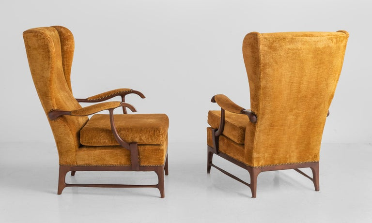 Modern Pair of Paolo Buffa Armchairs, Italy, circa 1960 For Sale