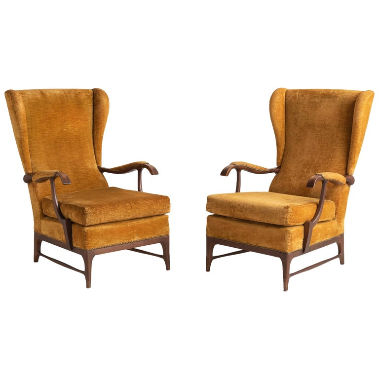 Pair of Paolo Buffa Armchairs, Italy, circa 1960 For Sale
