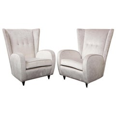 Pair of Paolo Buffa Lounge Chairs in Platinum Velvet