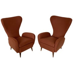 Pair of Paolo Buffa Sculptural Wingback Lounge Chairs