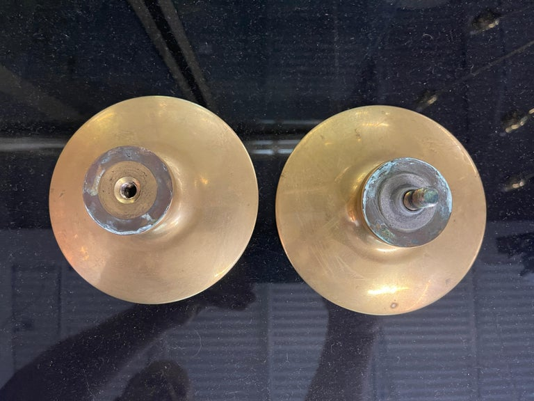 Pair of Paolo di Poli Solid Brass Round Door Pulls In Good Condition For Sale In Hingham, MA