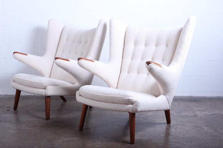 Fabric Pair of Papa Bear Chairs and Ottoman by Hans Wegner For Sale