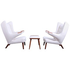 Pair of Papa Bear Chairs and Ottoman by Hans Wegner