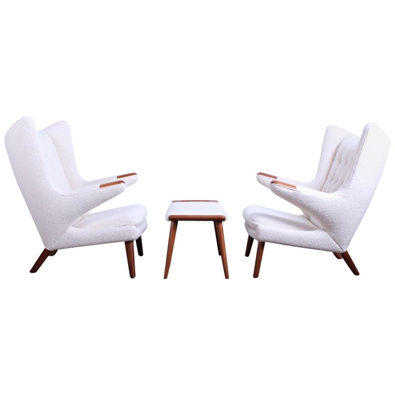 Pair of Papa Bear Chairs and Ottoman by Hans Wegner For Sale