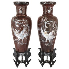 Pair of Papier Mâché and Mother of Pearl Vases
