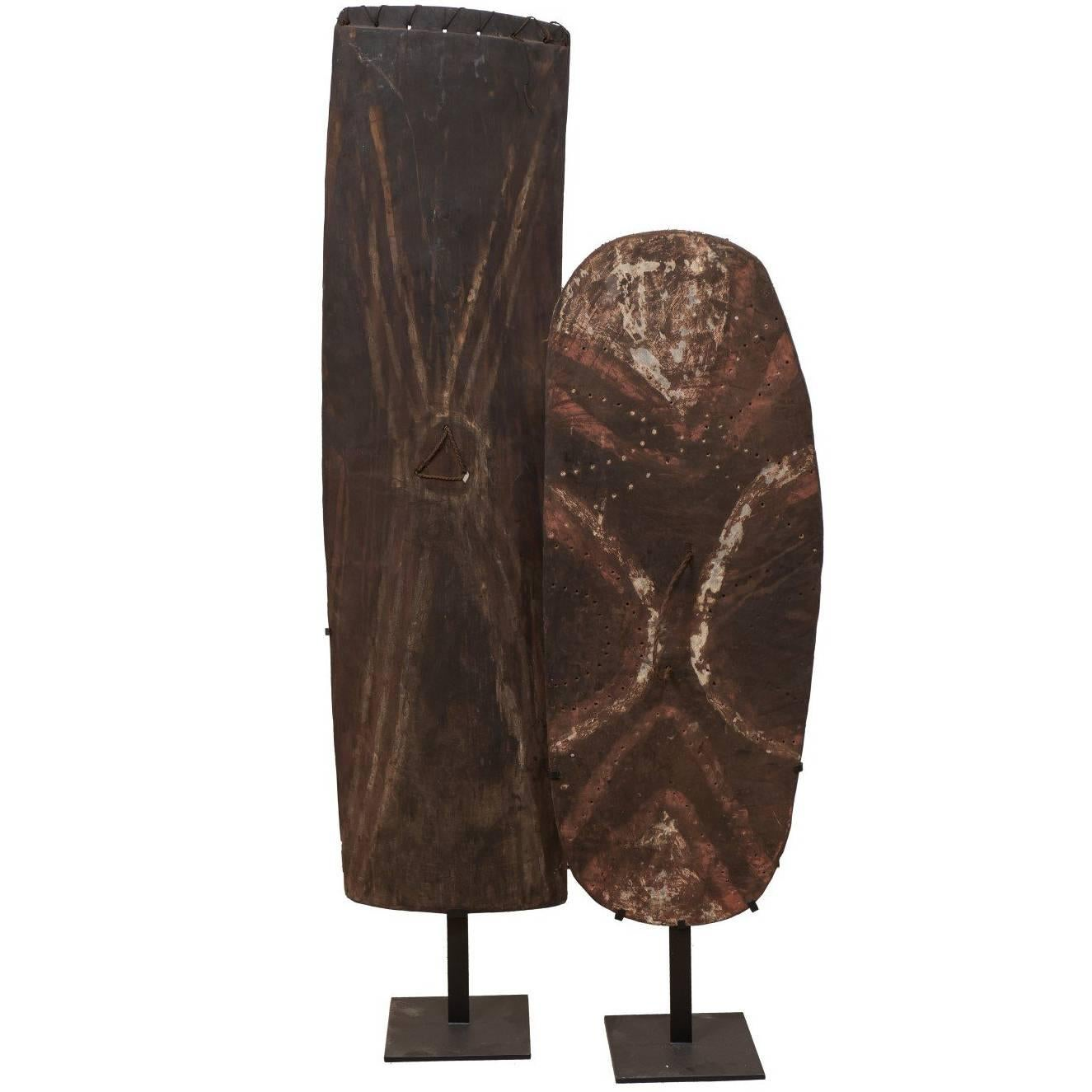Pair of Papua New Guinea Wooden Oceanic War Shields on Custom Iron Stands