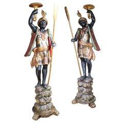 Pair of Parcel-Gilt 19th Century Venetian Gondoliers