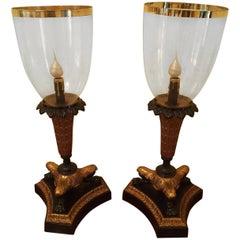 Pair of Parcel-Gilt Bronze Hurricane Lamps