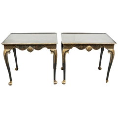 Pair of Parcel-Gilt, Chinoiserie Side Tables