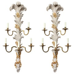 Pair of Parcel-Gilt Five-Arm Wall Lights