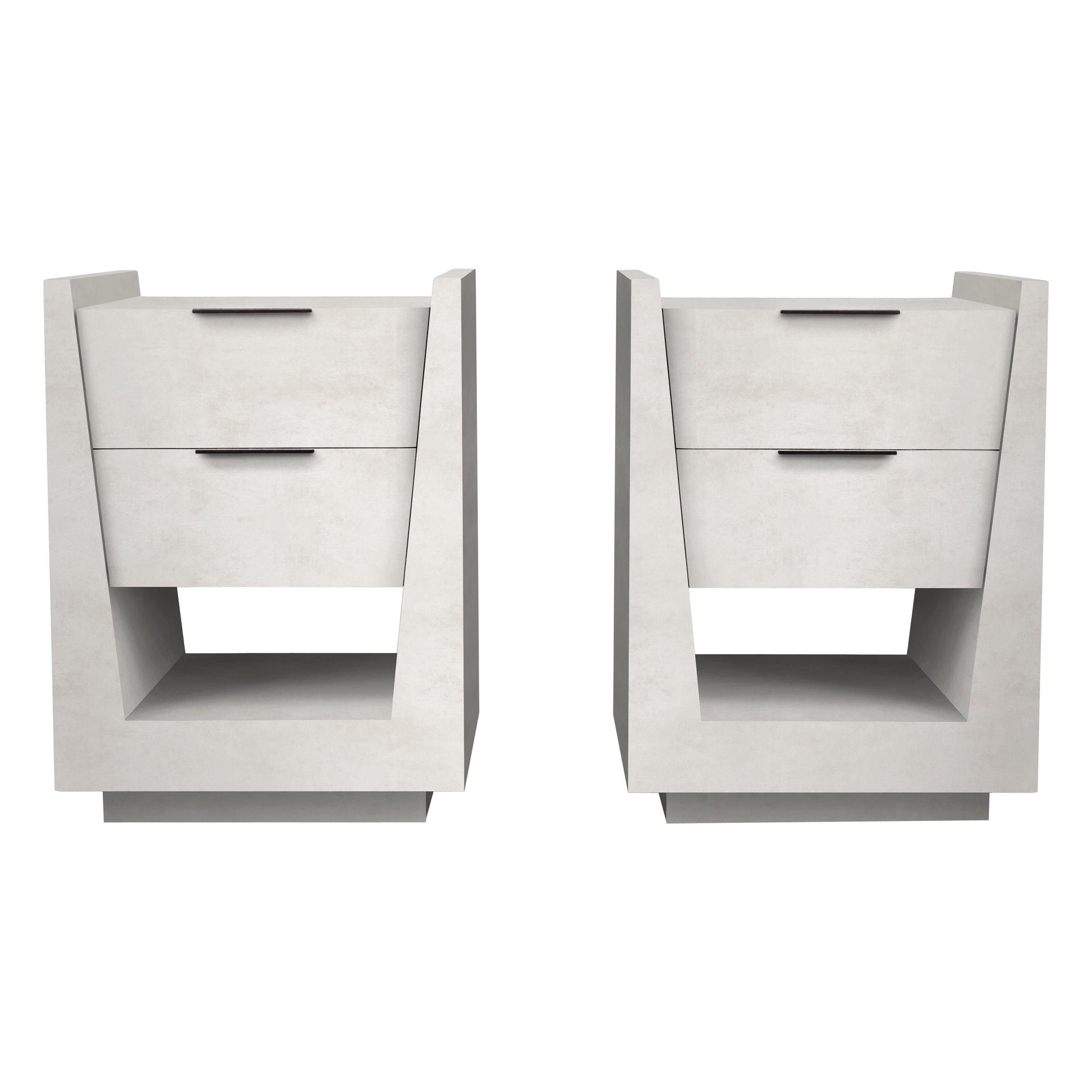 Pair of Parchment Night Stands by R & Y Augousti