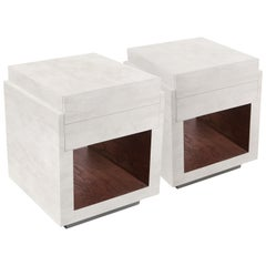 Pair of Parchment Night Stands by R&Y Augousti