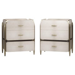 Pair of Parchment Night Stands with Brass Accents by Kifu Paris