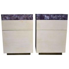 Pair of Parchment Nightstands with Ice Cracked Resin Tops