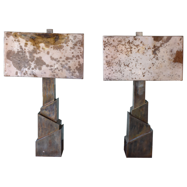 """Pair of Parchment """"Sculptural"""" Table Lamps"""