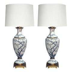 Pair of Paris Porcelain Blue and White Hand Painted Baluster-Form Lamps