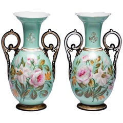 Pair of Paris Porcelain Botanical Vases Mid-19th Century 1850-1860 France