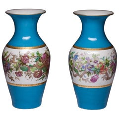 Pair of Paris Porcelain Botanical Vases, Mid-19th Century