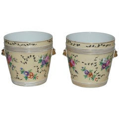 Pair of Paris Porcelain Cachepots with Hand-Painted Flowers, French, circa 1860