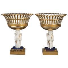 Pair of Paris Porcelain Figural Baskets, circa 1840