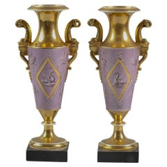 Pair of Paris Porcelain Pink and Gilt Vases, circa 1820