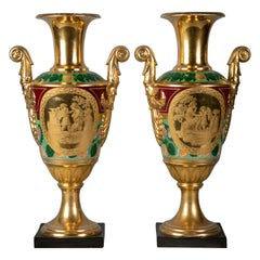 Pair of Paris Porcelain Two-Handled Empire Vases, circa 1810