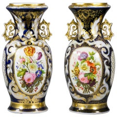 Pair of Paris Porcelain Two Handled Vases, circa 1840