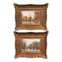 Pair of Paris Scenes Gouache Paintings in Gilt Frames Signed Henri La Touche