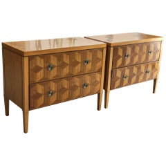Pair of Parquetry Chests by Baker with a Geometric Design